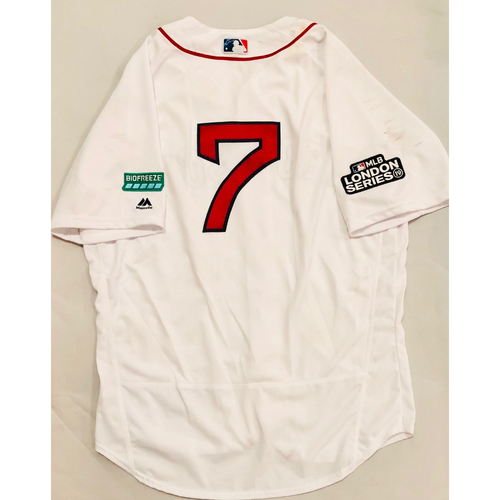 Photo of 2019 London Series - Game-Used Jersey - 7th through 9th inning - Christian Vazquez, New York Yankees vs Boston Red Sox - 6/29/19