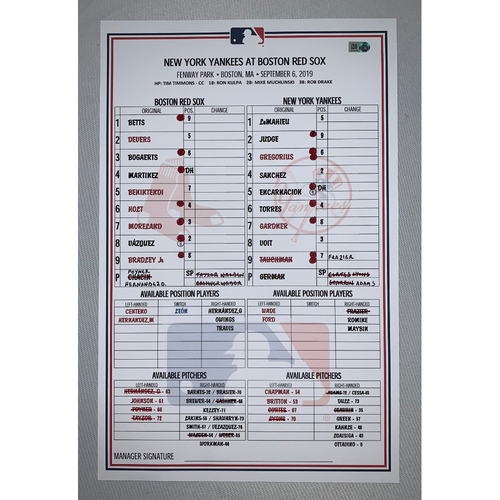 Photo of New York Yankees VS Boston Red Sox September 6, 2019 Game Used Lineup Card - Red Sox Win 6 to 1