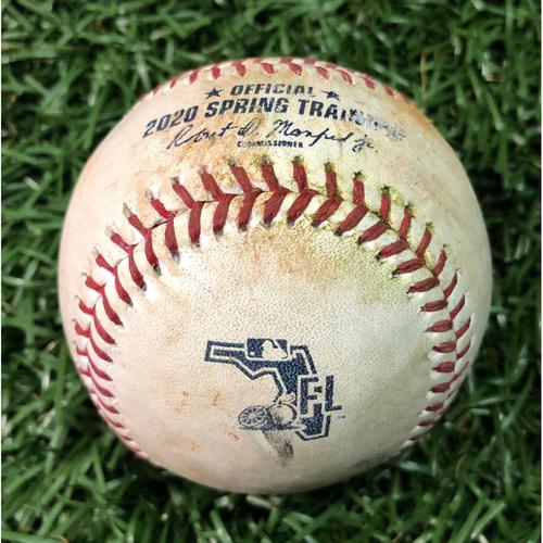 Photo of Spring Training Game Used Baseball: Yandy Diaz single off Clarke Schmidt - February 23, 2020 v NYY