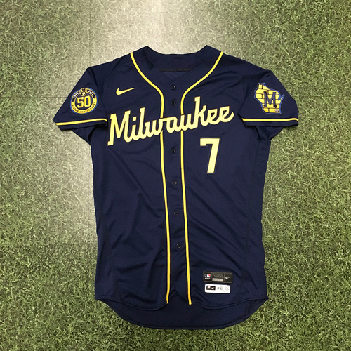 Photo of Eric Sogard 2020 Game-Used Road Navy Spring Training Jersey