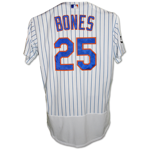 Photo of Ricky Bones #25 - Game Used White Pinstripe Jersey with Seaver Patch - Mets vs. Rays - 9/23/20