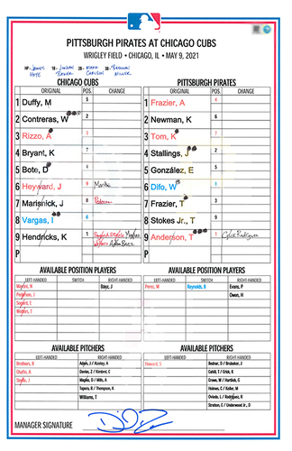 Photo of Game-Used Lineup Card -- Mother's Day 2021 -- Hendricks 5 IP, 4 ER, -- Pederson 3 Hits -- Pirates vs. Cubs -- 5/9/21