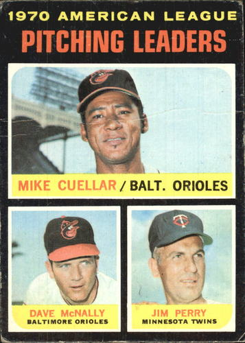 Photo of 1971 Topps #69 AL Pitching Leaders/Mike Cuellar/Dave McNally/Jim Perry
