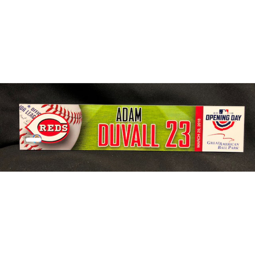 Photo of Adam Duvall Opening Day Locker Name Plate -- Reds Opening Day Left Fielder -- WSH vs. CIN on 3/30/18