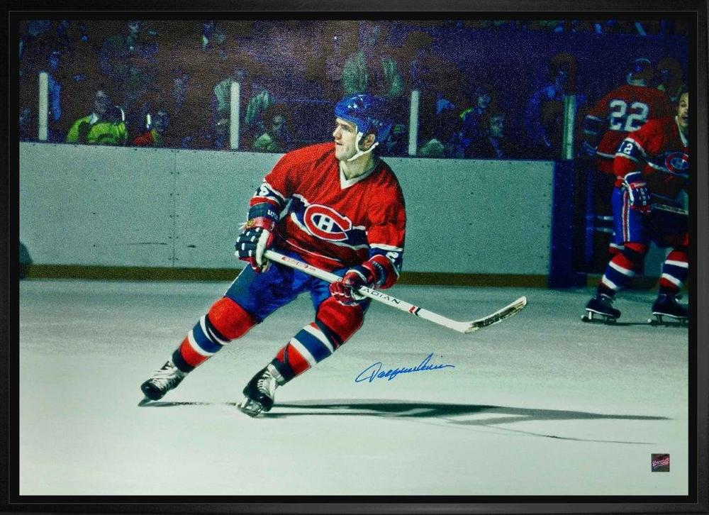 Jacques Lemaire Signed 20x29 Canvas Framed Canadiens Red Skating