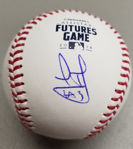 Photo of Leody Taveras Autographed 2018 Futures Logo Baseball