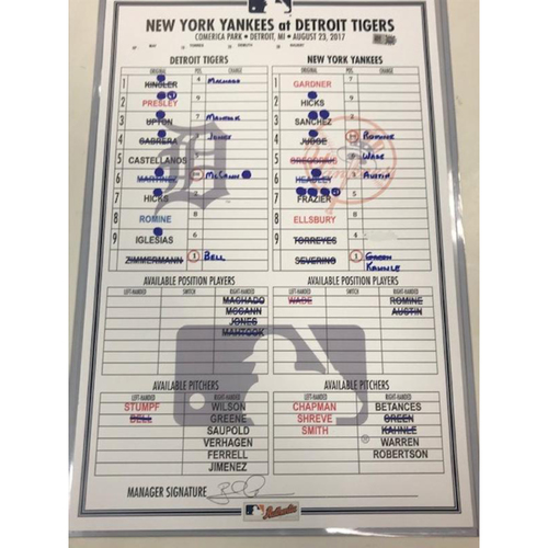 Photo of Game-Used Line-Up Card vs. New York Yankees