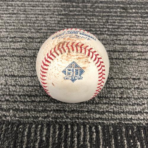 Photo of San Francisco Giants - 2018 Game Used Baseball - 9/28/18 vs. LAD - Madison Bumgarner to Brian Dozier - Foul Ball