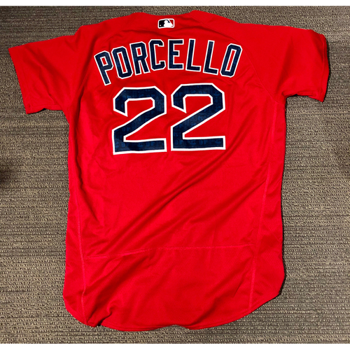 Photo of Boston Red Sox Rick Porcello 2016 Game-Used Spring Training Jersey