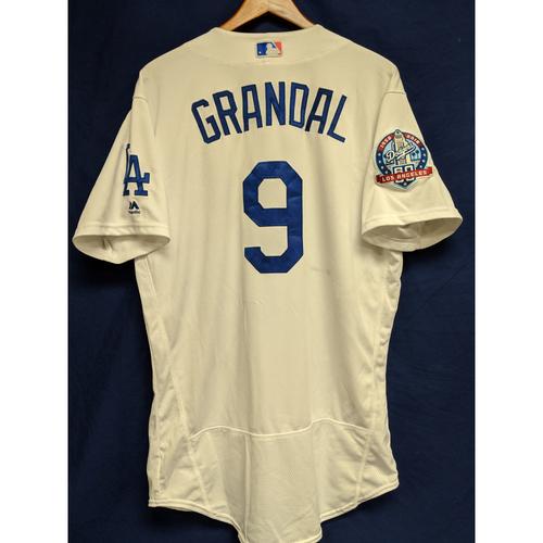 Yasmani Grandal Game-Used Home Jersey from Regular Season Tie Breaker Game - COL vs LAD - 10/1/18