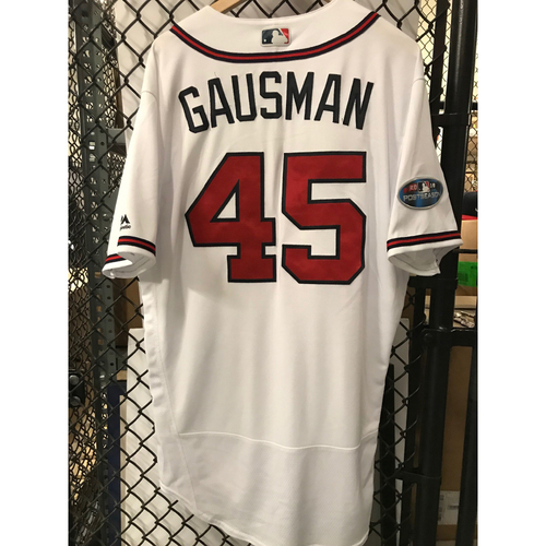 Photo of Kevin Gausman Game-Used 2018 NLDS Jersey - Worn 10/7/18 - First Postseason Game at SunTrust Park