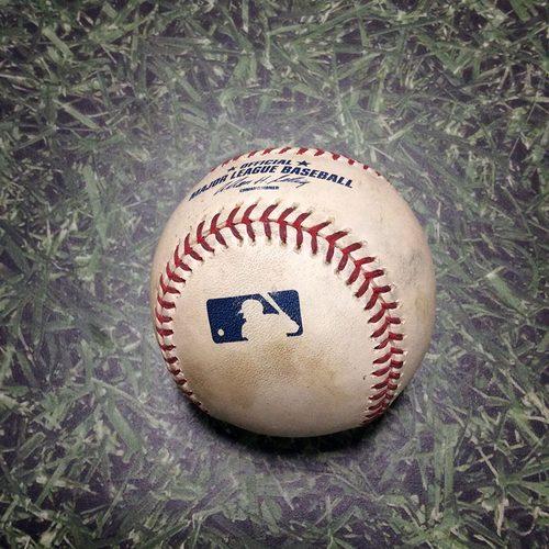 Photo of Game-Used Baseball CHC@MIL 04/08/11 - Carlos Zambrano - Rickie Weeks: Strike