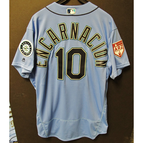 Photo of Edwin Encarnacion Team Issued Light Blue Spring Training Jersey 2019  Exhibition Game - SD @ SEA 3-26-2019
