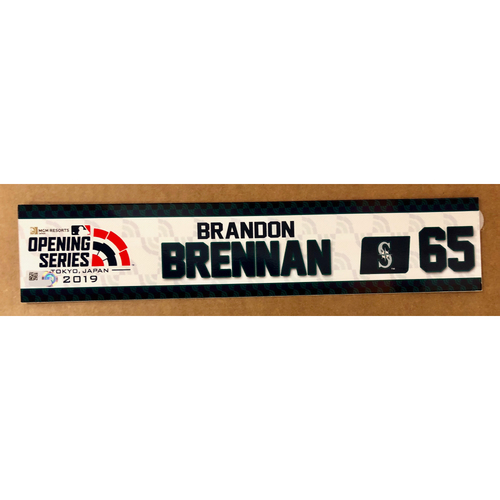 Photo of 2019 Japan Opening Day Series - Game Used Locker Tag - Brandon Brennan -  Seattle Mariners