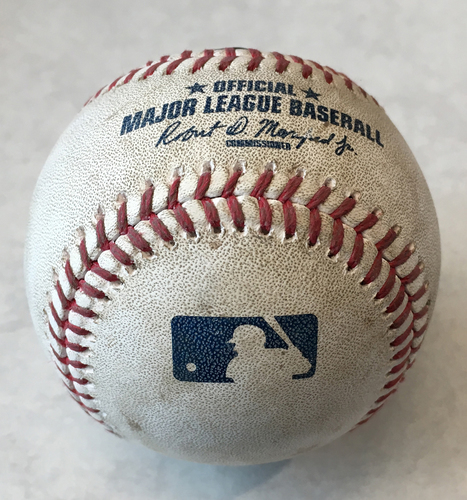 Photo of Game-Used Baseball -- Jon Lester to Eloy Jimenez, Walk, Top 4 -- White Sox vs. Cubs -- 6/19/19