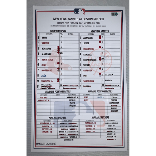 Photo of New York Yankees VS Boston Red Sox September 8, 2019 Game Used Lineup Card - Yankees Win 10 to 5
