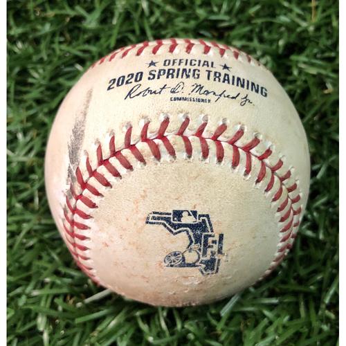 Photo of Spring Training Game Used Baseball: Trey Amburgey RBI double off Diego Castillo - February 23, 2020 v NYY
