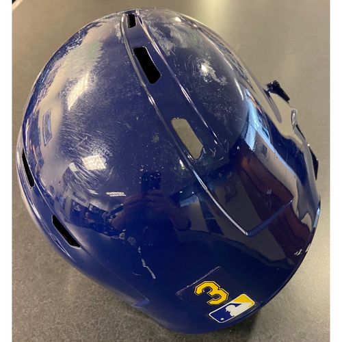Game-Used Sunday Royal J.P. Crawford Helmet - #3 (OAK @ SEA 9/29/2019)