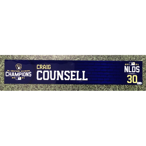 Photo of Craig Counsell 2021 Game-Used NLDS Locker Nameplate