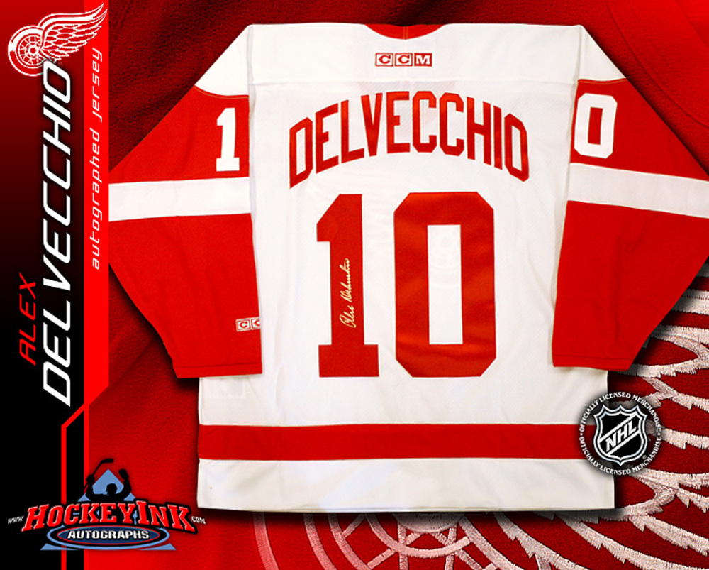 ALEX DELVECCHIO Signed White Detroit Red Wings CCM Jersey
