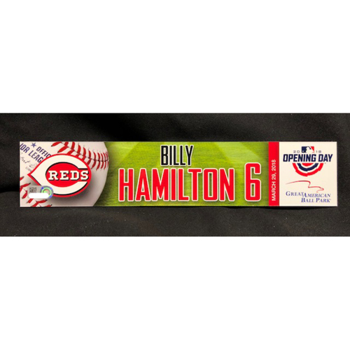 Photo of Billy Hamilton Opening Day Locker Name Plate -- Reds Opening Day Center Fielder -- WSH vs. CIN on 3/30/18