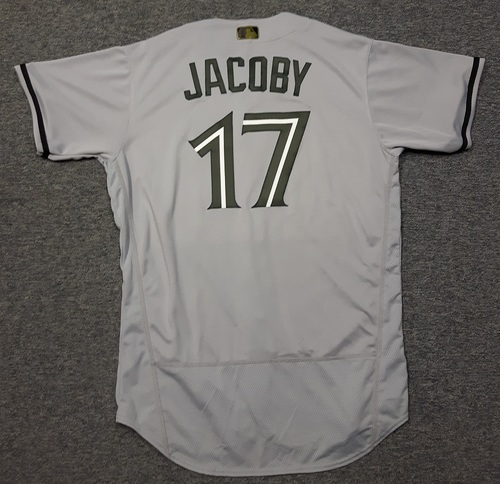 Photo of Authenticated Team Issued 2018 Memorial Day Jersey - #17 Brook Jacoby (May 28, 2018). Size 46