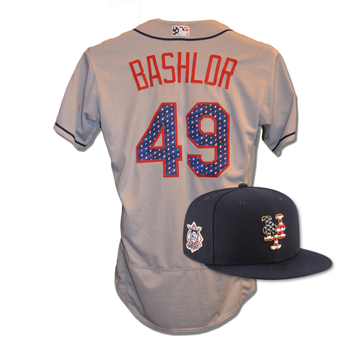 Photo of Tyler Bashlor #49 - Game Used 4th of July Jersey and Hat - Mets vs. Blue Jays - 7/4/18