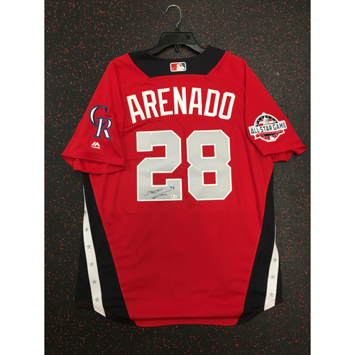 Photo of Nolan Arenado 2018 Major League Baseball Workout Day Autographed Jersey