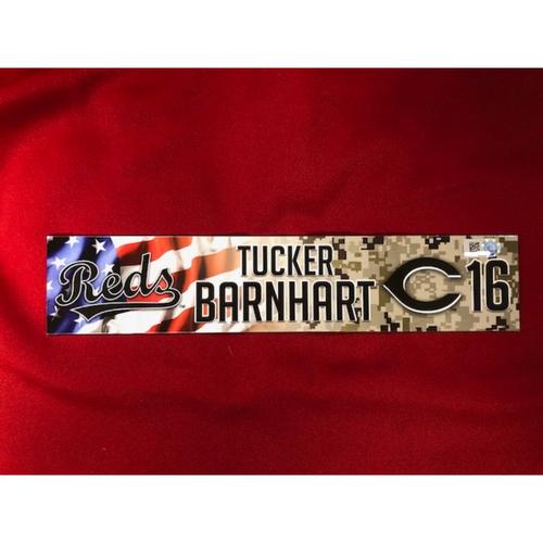 Photo of Tucker Barnhart - Game-Used - Military Appreciation Locker Tag (2018)
