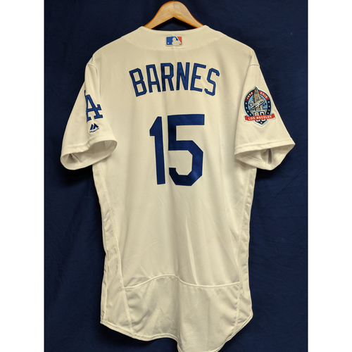 Photo of Austin Barnes Game-Used Home Jersey from Regular Season Tie Breaker Game - COL vs LAD - 10/1/18