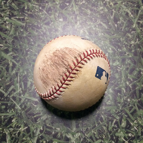 Photo of Game-Used Baseball CHC@MIL 04/09/11 - Matt Garza - Yuniesky Betancourt: Strike