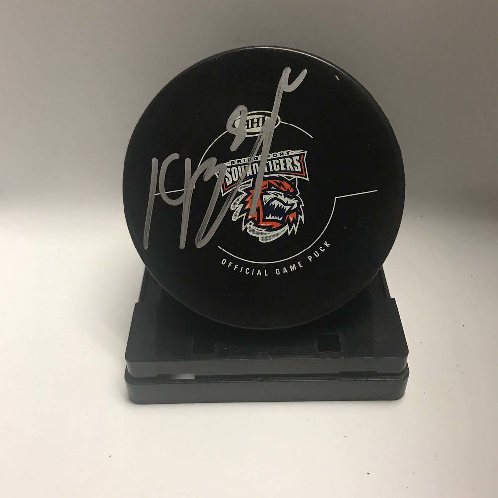 2018-19 Bridgeport Sound Tigers Assistant Captain Signed Puck - #8 Kyle Burroughs