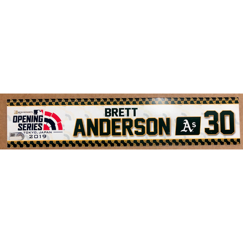 Photo of 2019 Japan Opening Day Series - Game Used Locker Tag - Brett Anderson -  Oakland Athletics