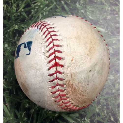 Photo of Game-Used Baseball PHI@MIL 05/26/19 - Zach Eflin - Brandon Woodruff: RBI Double