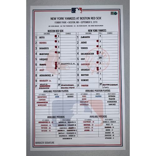 Photo of New York Yankees VS Boston Red Sox September 9, 2019 Game Used Lineup Card - Yankees Win 5 to 0
