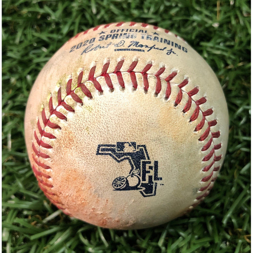 Photo of Spring Training Game Used Baseball: Oliver Drake strikes out Jarred Duran - February 24, 2020 v BOS
