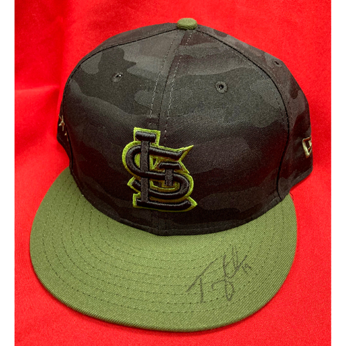 Photo of Tommy Edman Autographed Team Issued Camo Cap (Size 7 7/8)