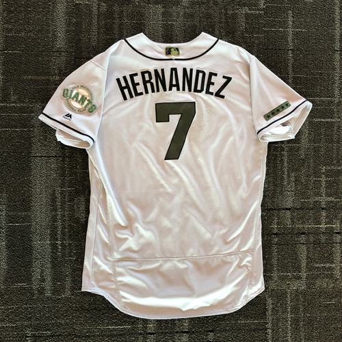 Photo of San Francisco Giants - 2018 Game Used Memorial Day Jersey - worn by #7 Gorkys Hernandez on 5/26 - 3-5, 2 R, 5/27 & 5/28 -2-4, 2 R, 1 RBI - Size 48