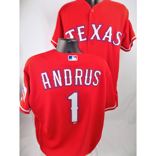 Photo of Elvis Andrus Game-Used Jersey - Worn August 7, 2018 vs. Seattle Mariners (Set Home On Base Streak At 44 Games, Dating Back to 9/25/17) - Size 48