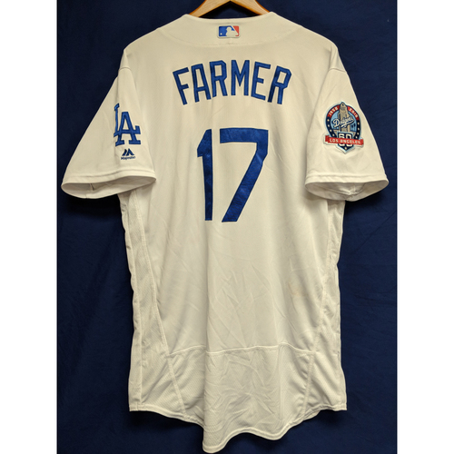 Photo of Kyle Farmer Game-Used Home Jersey from Regular Season Tie Breaker Game - COL vs LAD - 10/1/18