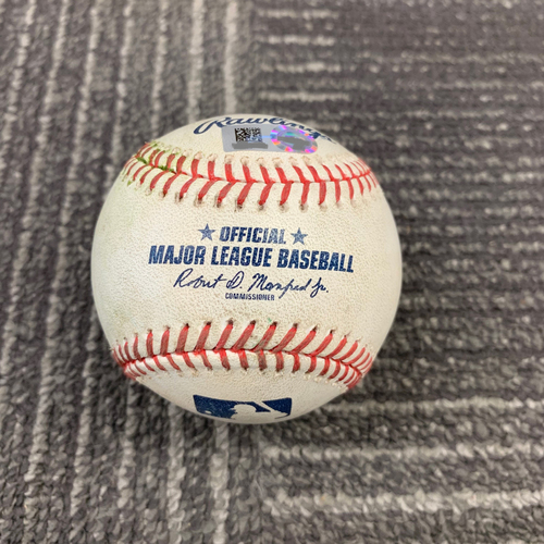 Photo of 2019 Game Used Baseball vs. San Diego Padres - 6/11/19 - B-7: Trey Wingenter to Joe Panik - Single to LF & Belt Walks