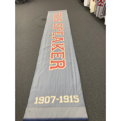 "Photo of Tris Speaker Team Issued Fenway Park Navy Street Banner (34""x168"")"
