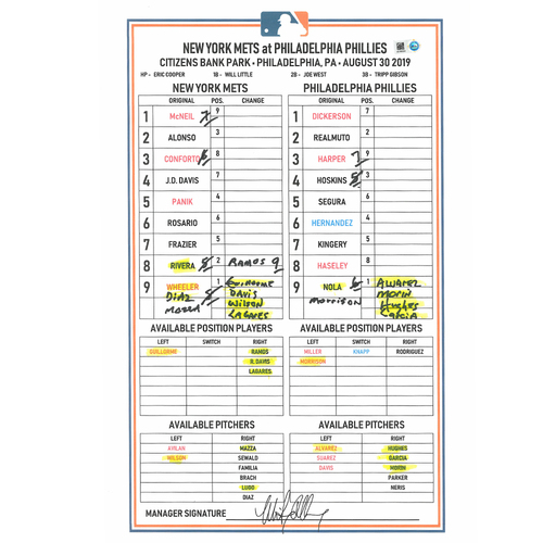 Photo of Game Used Lineup Card - Zack Wheeler 6 IP, 1 ER, 4 K's; Alonso 3-5, 2 R; Frazier 2-4 2 HR's, 6 RBI's and 2 R; Mets Win 11-5 - Mets vs. Phillies - 8/30/2019