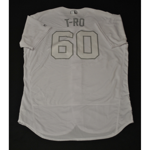 "Photo of Tanner ""T-RO"" Roark Oakland Athletics Game-Used 2019 Players' Weekend Jersey"
