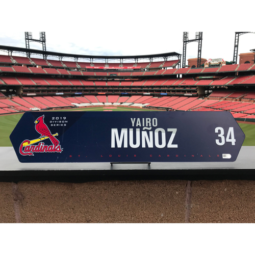Cardinals Authentics: Yairo Munoz Team Issued NLDS Locker Nameplate