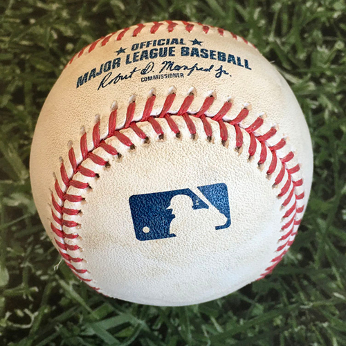 Photo of Game-Used Baseball CHC@MIL 09/11/20 - Devin Williams - Ian Happ: Strikeout (85.3 MPH Changeup)