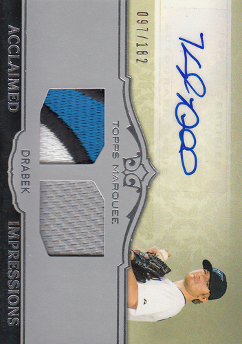 Photo of 2011 Topps Marquee Acclaimed Impressions Dual Relic Autographs #AID33 Kyle Drabek/182