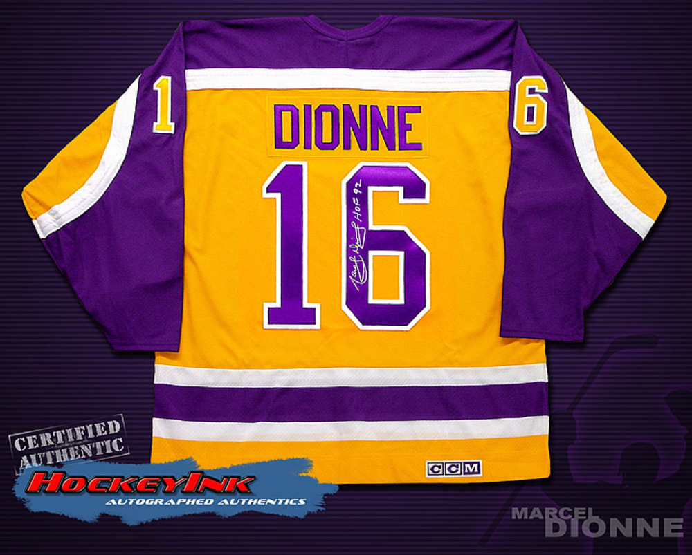 MARCEL DIONNE Signed Los Angeles Kings Vintage Yellow Jersey