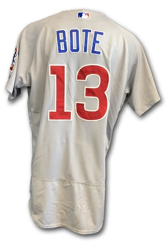 Photo of David Bote Game-Used Jersey -- Cubs at White Sox -- 9/22/18