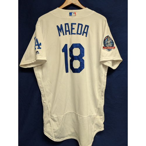 Kenta Maeda Game-Used Home Jersey from Regular Season Tie Breaker Game - COL vs LAD - 10/1/18